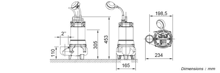 pompe de relevage eau charg e gv 2012 2 monophas 230 v 0 6 kw automatique. Black Bedroom Furniture Sets. Home Design Ideas